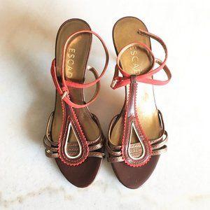 New! Escada red suede & bronze strappy sandal shoe